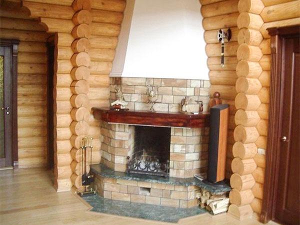 камин в деревянном доме фото многих снимках различных